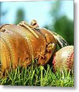 Old Glove And Baseball  Metal Print
