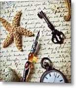 Old Letter With Pen And Starfish Metal Print