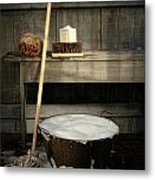 Old Wash Bucket With Mop And Brushes Metal Print