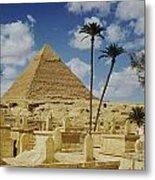 One Of The Pyramids Seen Behind An Arab Metal Print