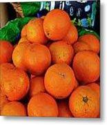 Oranges Displayed In A Grocery Shop Metal Print by Sami Sarkis