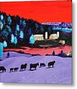 Pastures And Pond Metal Print by Randall Weidner
