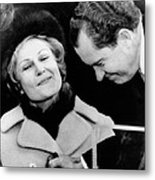 Pat Nixon Grasps Her Husbands Hand Metal Print by Everett