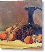 Peaches And Blue Pitcher Metal Print by Lilibeth Andre