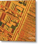 Pentium Computer Chip Metal Print by Michael W. Davidson