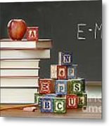 Pile Of Books With Wooden Blocks Metal Print