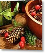 Pine Branches With Gift Tag  Metal Print by Sandra Cunningham