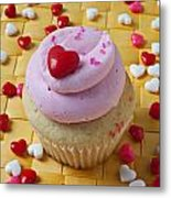 Pink Cupcake With Candy Hearts Metal Print