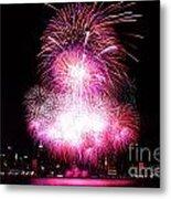 Pink Fireworks At Nyc Metal Print