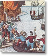 Pirates Burn Havana, 1555 Metal Print by Photo Researchers