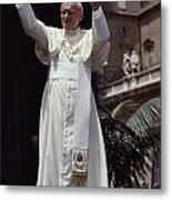 Pope John Paul II Blesses An Audience Metal Print by James L. Stanfield