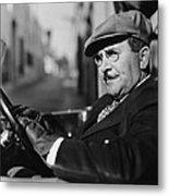 Portrait Of Man In Drivers Seat Of Car Metal Print
