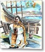 Preaching The Bible On The Conquistadores Boat In Vila Do Conde In Portugal Metal Print by Miki De Goodaboom