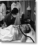President Johnson After Surgery. Lady Metal Print