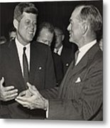 President Kennedy Talking With Arkansas Metal Print