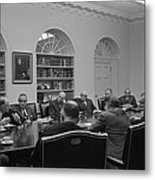 President Lyndon Johnson Meets With The Metal Print by Everett