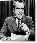 President Richard Nixon Presents A New Metal Print