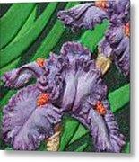 Purple Iris Flowers Sculpture Metal Print