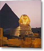 Pyramids Of Giza With The Great Sphinx Metal Print by Richard Nowitz