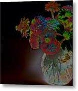 Rainbow Flowers In Glass Globe Metal Print