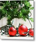 Red Glass Balls With Lights  Metal Print