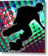 Red Green And Blue Abstract Boxes Skateboarder Metal Print