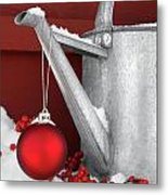 Red Ornament On Watering Can Metal Print