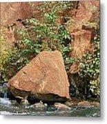 Red Rocks, Fall Colors And Creek, Oak Metal Print