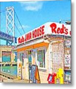 Reds Java House And The Bay Bridge At San Francisco Embarcadero Metal Print by Wingsdomain Art and Photography
