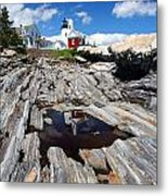 Reflections Of Pemaquid Metal Print by Brenda Giasson