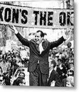 Richard Nixon, Delivering His The V Metal Print