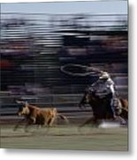 Rodeo Cowboy Trying To Lasso A Running Metal Print by Chris Johns