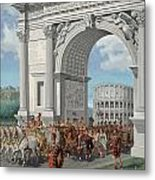 Roman Soldiers Lead Chained Captives Metal Print