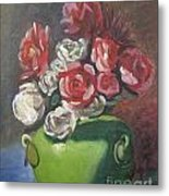 Roses And Green Vase Metal Print