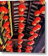 Rows Of Red Chinese Paper Lanterns - Shanghai China Metal Print