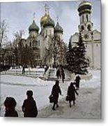 Russian Women, Dressed In Black, Walk Metal Print