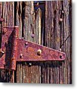 Rusty Barn Door Hinge  Metal Print by Garry Gay