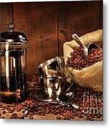 Sack Of Coffee Beans With French Press Metal Print
