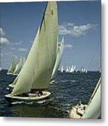 Sailboats Cross A Starting Line Metal Print by B. Anthony Stewart