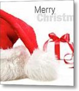 Santa Hat And Gift With Red Bow Metal Print