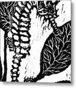 Seahorse Block Print Metal Print by Ellen Miffitt