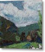 Sheep In The Field Metal Print by Nicole Besack