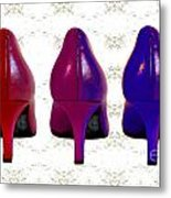 Shoes In Red To Blue Metal Print