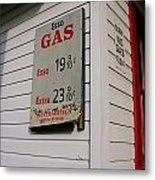 Signs On A Historic Gas Station Offer Metal Print