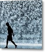 Silhouette Over Water Metal Print