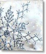 Silver Blue Snowflake  Metal Print