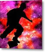 Skateboarder In Cosmic Clouds Metal Print