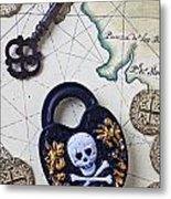 Skull And Cross Bones Lock Metal Print by Garry Gay