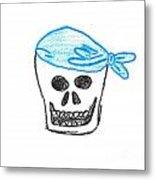 Skull In Blue Bandanna Metal Print by Jeannie Atwater Jordan Allen