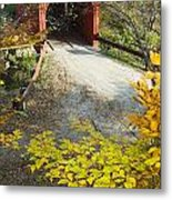 Slaughter House Bridge And Fall Colors Metal Print by James Forte